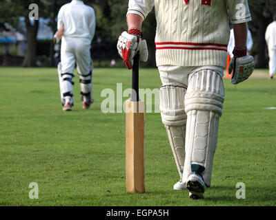 Playing cricket at a local league match - Stock Photo