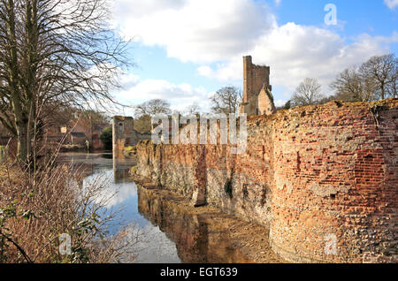 A view of the moated Caister Castle at West Caister, near Great Yarmouth, Norfolk, England, United Kingdom. - Stock Photo