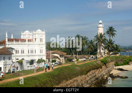 Meera mosque and lighthouse, Galle Fort, Sri Lanka - Stock Photo