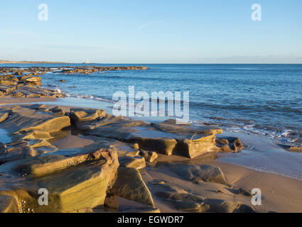 Whitley Bay, North Tyneside, England, UK. 3rd March, 2015. Weather: Whitley Bay beach with St Mary`s lighthouse - Stock Photo