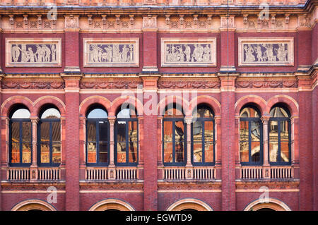 Victoria and Albert Museum, London, England, UK - architectural detail of the Italian Renaissance buildings - Stock Photo