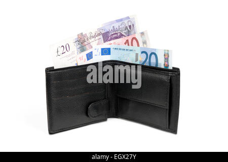Wallet with euro and pound banknotes isolated over white with clipping path. - Stock Photo