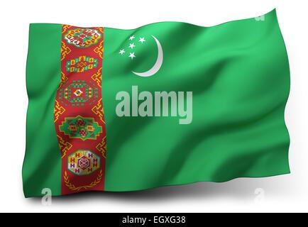 Waving flag of Turkmenistan isolated on white background - Stock Photo