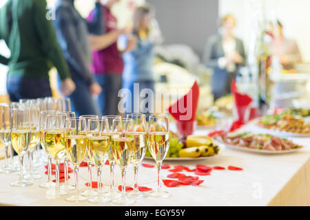 Banquet event. Champagne on table. - Stock Photo