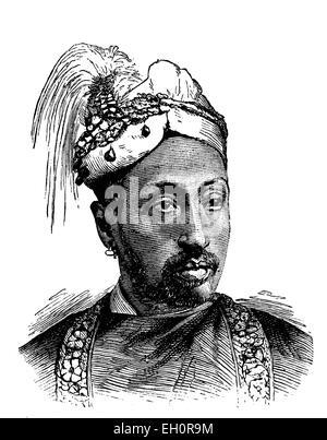 Sir Rama Varma, Maharaja of Travancore, historical illustration, 1884 - Stock Photo