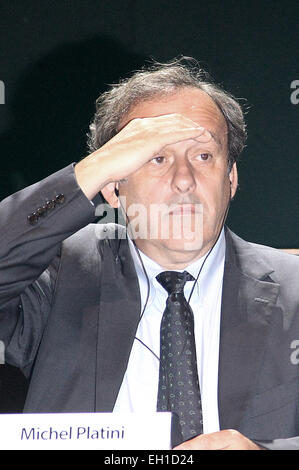 Asuncion, Paraguay. 4th Mar, 2015. President of the Union of European Football Associations (UEFA) Michel Platini - Stock Photo