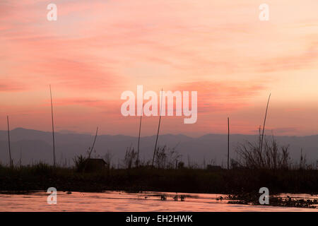 Dusk and sunset landscape, Inle lake , Mynamar ( burma ), Asia - Stock Photo