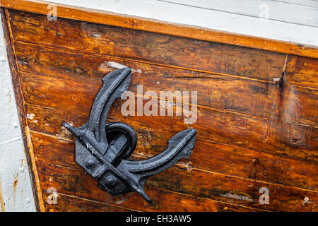 Closeup image of an anchor of a large sailing boat - Stock Photo