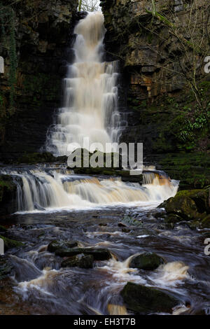 Cascading winter water down Mill Gill Force near Askrigg, Wensleydale, North Yorkshire, England, UK - Stock Photo