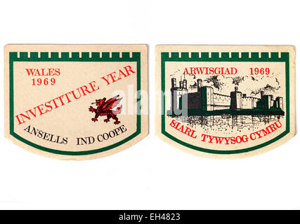 Vintage British Beermats Advertising Ansells Ind Coope Beer and Welsh Investiture 1969 (front and back iews) - Stock Photo