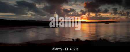 Sunset over Loch Gairloch panoramic - Stock Photo