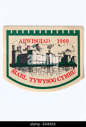 Vintage Beermat Advertising Ansells Ind Coope Beer and Welsh Investiture 1969 - Stock Photo