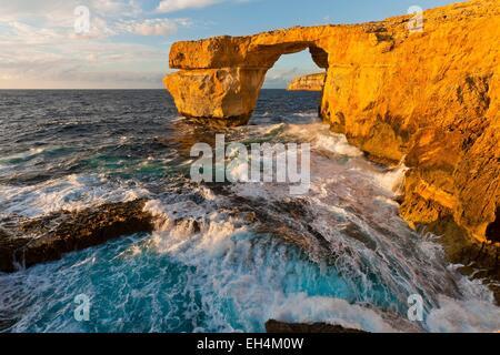 Malta, Gozo island, the natural arch of Azure Window - Stock Photo