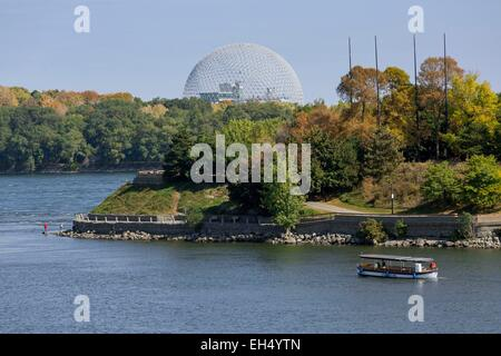Canada, Quebec, Montreal, the city harbor and the St. Lawrence Iriver islands, the Biosphere, river shuttle - Stock Photo