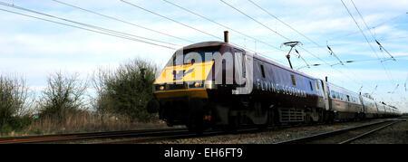 91101 Flying Scotsman, Virgin Trains operating company, 91 class High Speed Electric Train, East Coast Main Line - Stock Photo