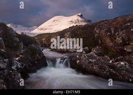 Quinag mountain and Unapool burn in wild Sutherland, North West Scotland - Stock Photo