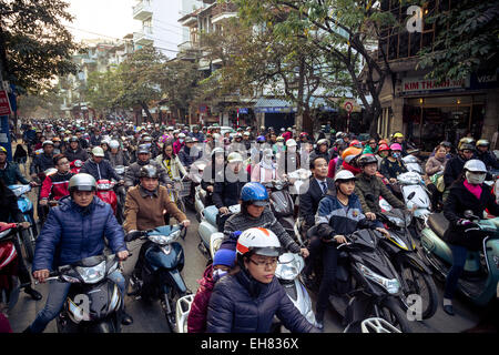 Busy traffic in the old quarter, Hanoi, Vietnam, Indochina, Southeast Asia, Asia - Stock Photo