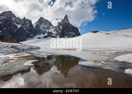 Pale di San Martino by San Martino di Castrozza, Dolomites, Trentino, Italy - Stock Photo