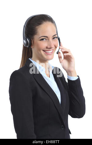 Happy operator with headset attending on the phone isolated on a white background - Stock Photo