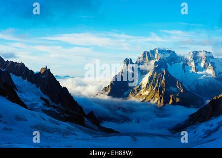 Aiguille Verte and Les Drus, Vallee Blanche, Chamonix, Rhone Alps, Haute Savoie, France, Europe - Stock Photo