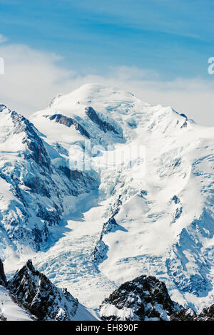 Europe, France, Haute Savoie, Rhone Alps, Chamonix Valley, Mt Blanc 4810m from Mt Buet - Stock Photo
