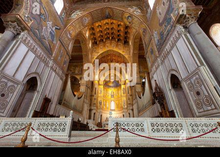 Interior, Santa Maria Nuova Cathedral, Monreale, Palermo, Sicily, Italy, Europe - Stock Photo