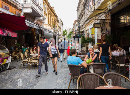 Bars and restaurants in Old Town, Centru Vechi, Bucharest, Romania, Europe - Stock Photo
