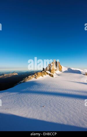 Europe, France, Haute Savoie, Rhone Alps, Chamonix, Aiguille du Midi from Mont Blanc - Stock Photo