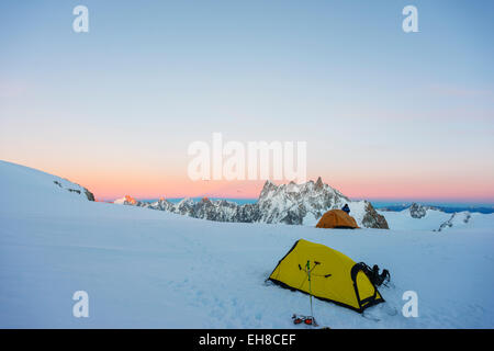 Europe, France, Haute Savoie, Rhone Alps, Chamonix, Col du Midi on Mont Blanc - Stock Photo