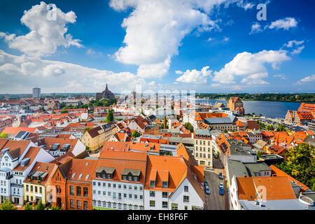 Rostock, Germany old city skyline. - Stock Photo