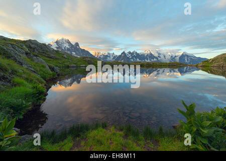 Europe, France, Haute Savoie, Rhone Alps, Chamonix, Lacs des Cheserys Mont Blanc - Stock Photo