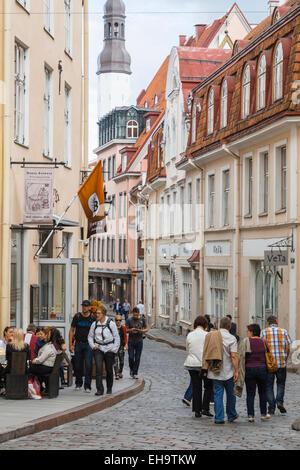 Nunne street, old town of Tallinn, Estonia - Stock Photo