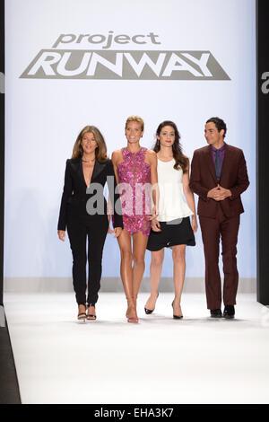 Mercedes-Benz Fashion Week Spring 2015 - 'Project Runway' - Runway Featuring: Nina Garcia,Heidi Klum,Emmy Rossum,Zac - Stock Photo