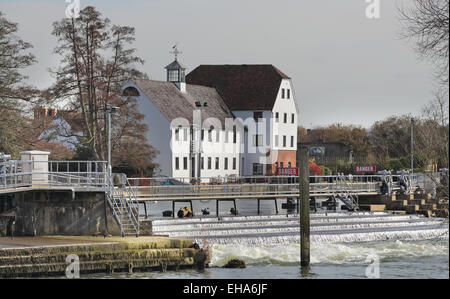 Hambleden Mill and Weir on the River Thames in England - Stock Photo