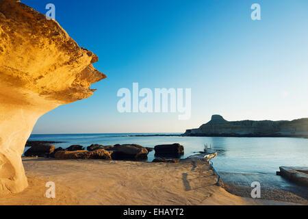 Mediterranean Europe, Malta, Gozo Island, Xwejni Bay - Stock Photo