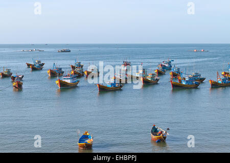 Fishing village with a bunch of fishing boats. Mui Ne. Vietnam - Stock Photo