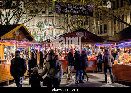 'Le Marché du Carré d'Or' Christmas market, Strasbourg, Alsace, France - Stock Photo