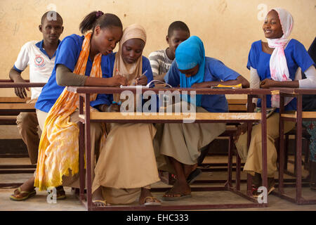 Members of the 'Our Future' children's club at the Secondary School, Tera, west Niger. Djamila was given away by - Stock Photo