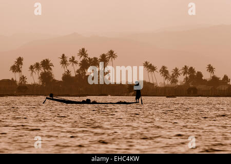 Inle lake landscape at dusk with fisherman, Inle Lake, Myanmar ( Burma ), Asia - Stock Photo