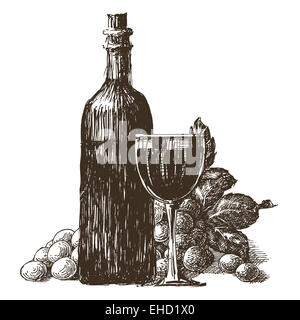 wine bottle vector logo design template. wineglass or grape icon. - Stock Photo