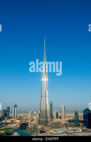 Burj Khalifa and skyline of Downtown Dubai in United Arab Emirates - Stock Photo