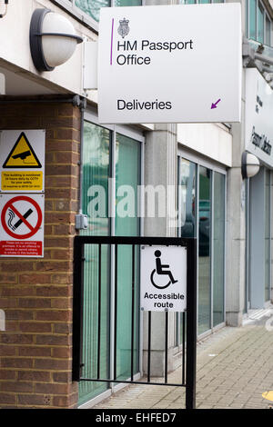 Singage outside the Identity and Passport Service Building - Stock Photo