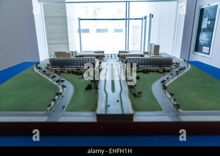Architect's model of the E42 EUR area in Rome - Stock Photo