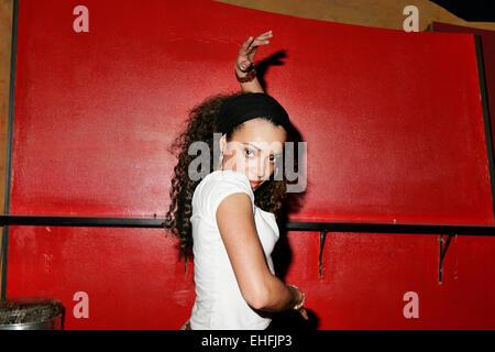 Iris de Brito dancing at Sound nightclub in London. - Stock Photo