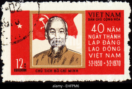 VIETNAM - CIRCA 1970: A stamp printed in Vietnam shows portrait of Ho Chi Minh - Stock Photo