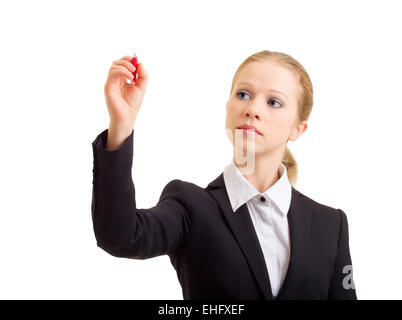 Young business woman draw with marker - Stock Photo