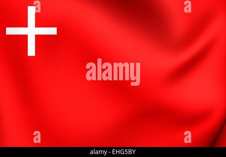 Flag of Schwyz, Switzerland. Close Up. - Stock Photo