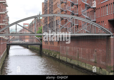 Warehouse district in Hamburg - Stock Photo