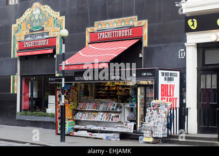 Spaghetti house and Newspaper stand in London - Stock Photo