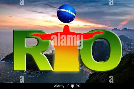 Rio De Janeiro Logo with Christ the redeemer and Sunset background at Copacabana beach. - Stock Photo